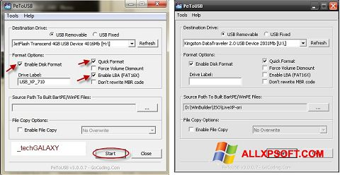 Screenshot PeToUSB for Windows XP