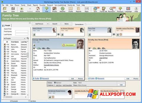 Screenshot Family Tree Builder for Windows XP