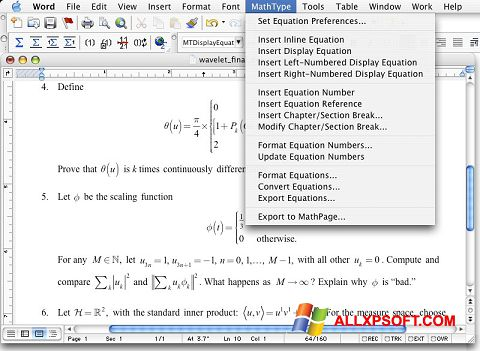 Screenshot MathType for Windows XP