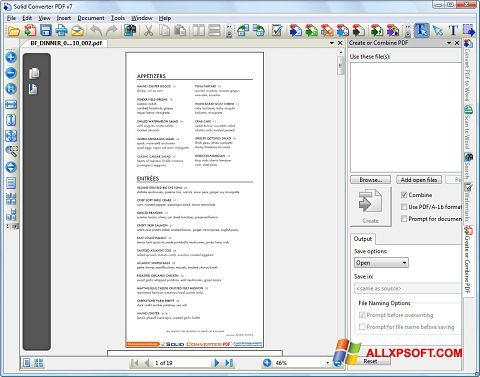 Screenshot Solid Converter PDF for Windows XP