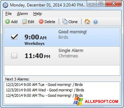 Screenshot Free Alarm Clock for Windows XP