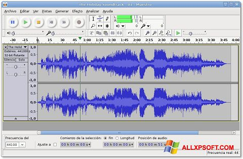Screenshot Audacity for Windows XP