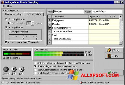Screenshot Audiograbber for Windows XP