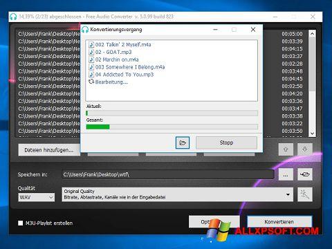Screenshot Free Audio Converter for Windows XP