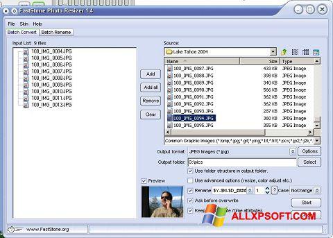 Screenshot FastStone Photo Resizer for Windows XP