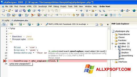 Screenshot phpDesigner for Windows XP