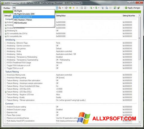 Screenshot NVIDIA Inspector for Windows XP