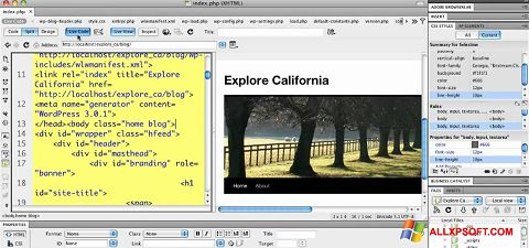 Screenshot Adobe Dreamweaver for Windows XP