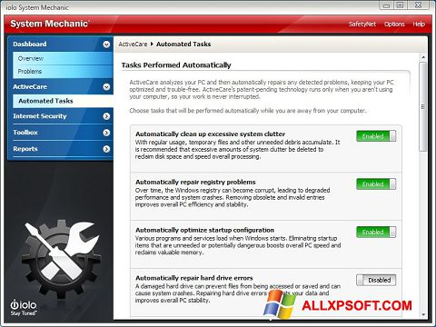Screenshot System Mechanic for Windows XP