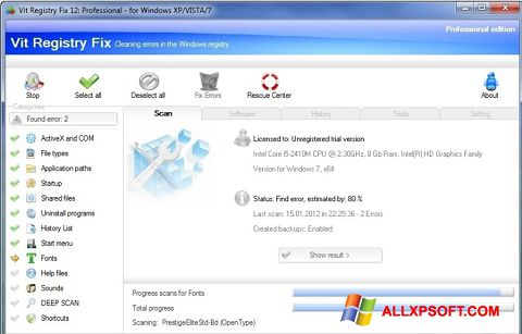 Screenshot Vit Registry Fix for Windows XP