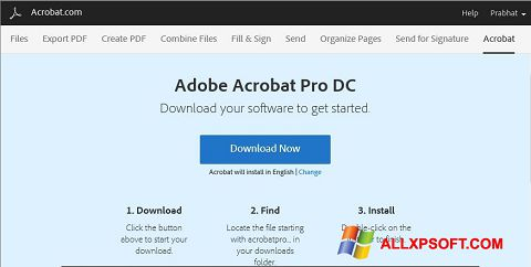 Screenshot Adobe Acrobat for Windows XP