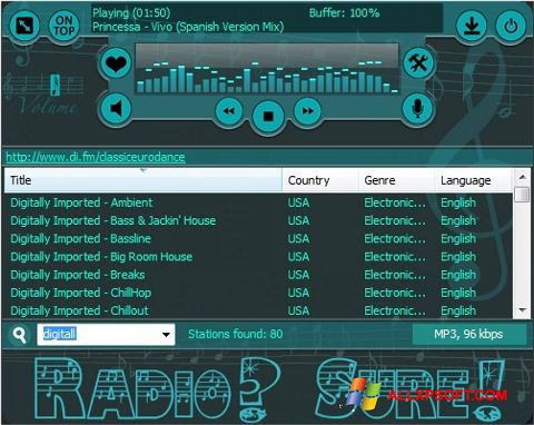 Screenshot RadioSure for Windows XP