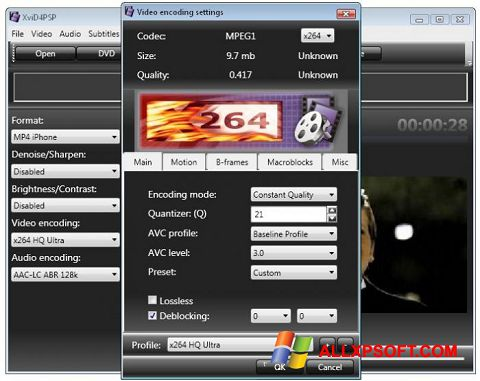 Screenshot XviD4PSP for Windows XP