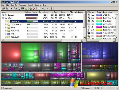 Screenshot WinDirStat for Windows XP