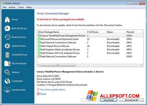 Screenshot Driver Genius Professional for Windows XP
