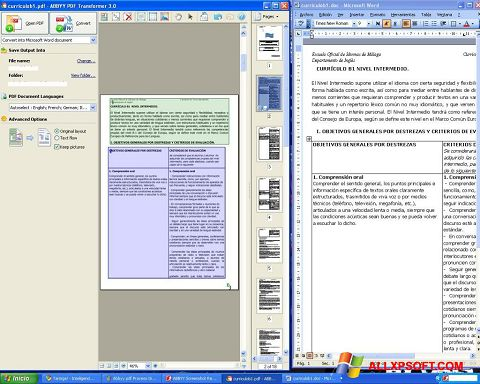 Screenshot ABBYY PDF Transformer for Windows XP