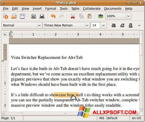 Screenshot AbiWord for Windows XP