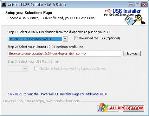 Screenshot Universal USB Installer for Windows XP