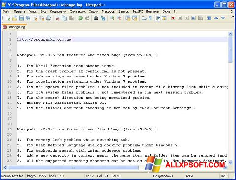 Screenshot Notepad++ for Windows XP