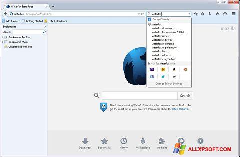 Screenshot Waterfox for Windows XP
