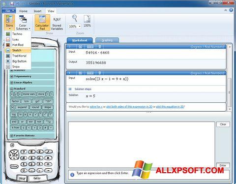 Screenshot Microsoft Mathematics for Windows XP