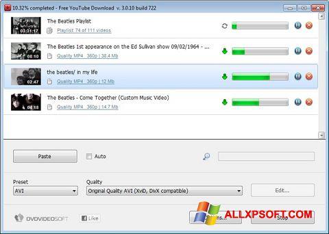 Screenshot Free YouTube Download for Windows XP