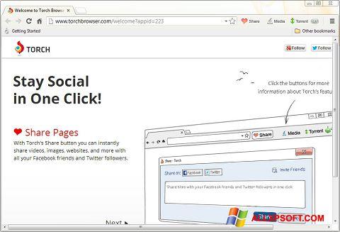 Screenshot Torch Browser for Windows XP