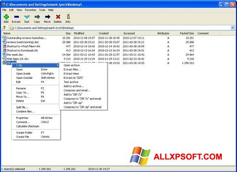 Screenshot 7-Zip for Windows XP