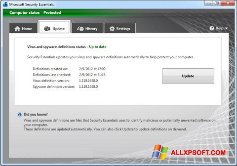 Screenshot Microsoft Security Essentials for Windows XP