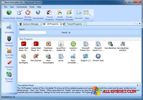 Screenshot Revo Uninstaller Pro for Windows XP