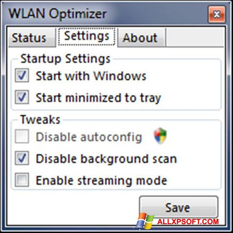 Screenshot WLAN Optimizer for Windows XP